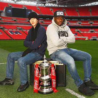 Devlin, left, and Lethal Bizzle as the FA launched a Battle of the Bands-style initiative to find an official FA Cup anthem (The FA/PA)