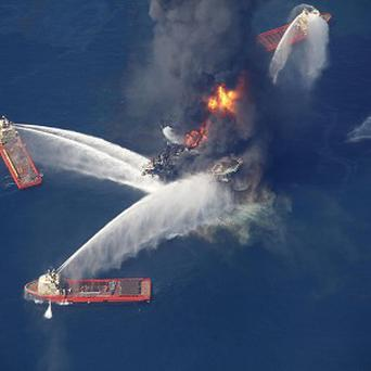 The Deepwater Horizon oil rig burning in the Gulf of Mexico (AP)