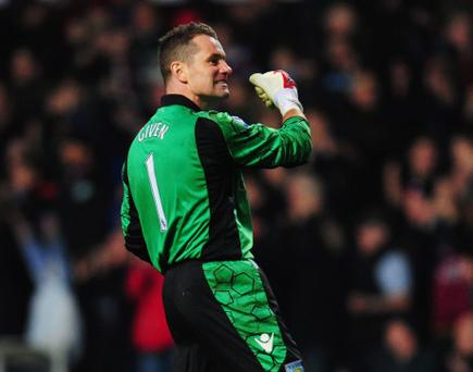 Shay Given during a rare start for Aston Villa this season
