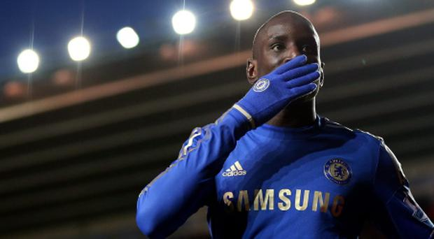 SOUTHAMPTON, ENGLAND - JANUARY 05: Demba Ba of Chelsea celebrates scoring his first and his teams fourth goal during the FA Cup Third Round match between Southampton and Chelsea at St Mary's Stadium on January 5, 2013 in Southampton, England. (Photo by Julian Finney/Getty Images)
