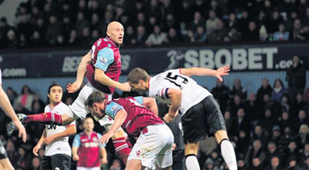 'Joe Cole was the provider for West Ham's second goal, receiving the ball from Ricardo Vaz Te, turning, looking up, and sending in a lofted cross that was gobbled up by James Collins'