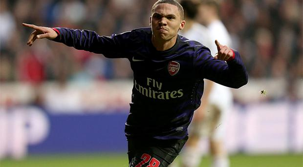 Arsenal's Kieran Gibbs celebrates scoring the second goal against Swansea. Photo: PA