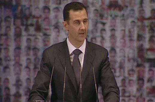 Syria's President Bashar al-Assad speaks at the Opera House in Damascus. Photo: Reuters