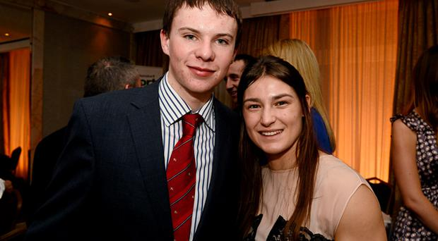 Our stars: They might come from different disciplines but jockey Joseph O'Brien and boxer Katie Taylor shared the limelight at the Westbury Hotel when they received the top honours at the Irish Independent Sportstar of the Year awards. Photo: Sportsfile
