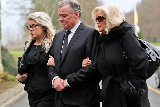 Derry Clarke his wife, Sallyanne and daughter, Sarah May at Andrew's funeral mass.