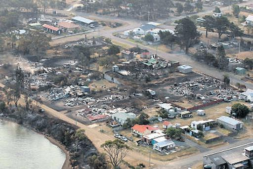 Homes destroyed by a wildfire near Boomer Bay, in southern Australia