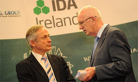 Minister for Jobs, Enterprise and Innovation Richard Bruton TD and Barry O'Leary, IDA CEO