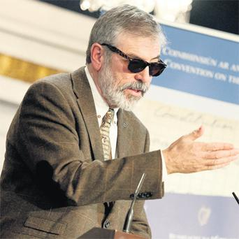 Gerry Adams speaks at the Inaugural Constitutional Convention in Dublin Castle in early December