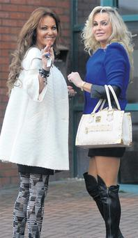 'Dublin Wives' stars (from left) Jo Jordan and Lisa Murphy, pictured leaving Jo's Castleknock home