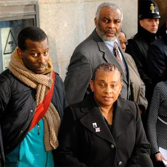 Stephen Lawrence's mother Doreen Lawrence alongside Stephen's father Neville (right) and brother Stuart (left) as he has claimed to have been stopped by police up to 25 times because of his skin colour. Photo: PA
