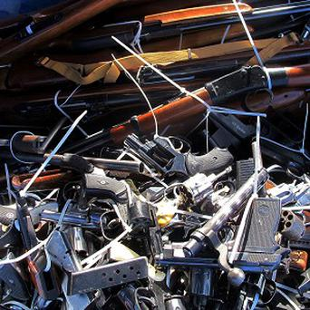 Guns handed in during an Arizona safety campaign (AP)