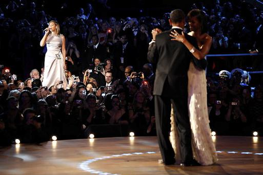Beyonce performs 'At Last' at the inauguration ball in 2009.