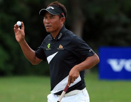 DURBAN, SOUTH AFRICA - JANUARY 10: Thongchai Jaidee of Thailand reacts to a birdie putt on the 15th green during the first round of the Volvo Champions at Durban Country Club on January 10, 2013 in Durban, South Africa. (Photo by Richard Heathcote/Getty Images)