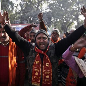 Hindu nationalist activists protesting in New Delhi against Pakistan over clashes on the disputed Kashmir border (AP)