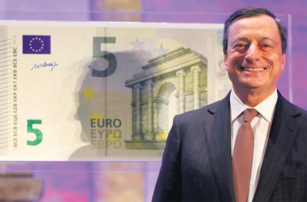 Mario Draghi unveils the new €5 note, to be introduced in May
