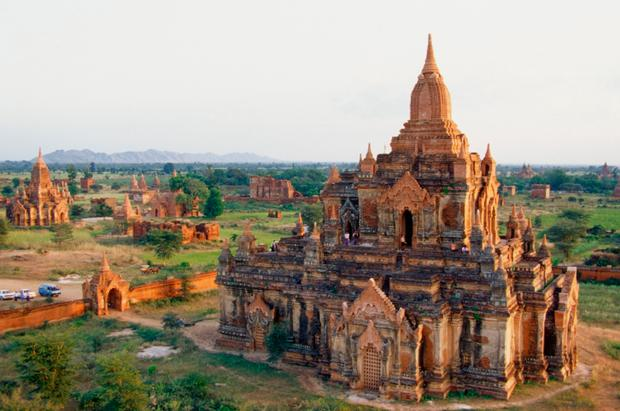 High angle view of the Buddhist Temples, Bagan, Myanmar