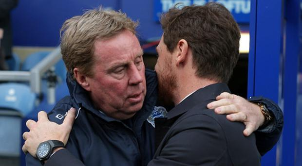 Tottenham Hotspur manager Andre Villas-Boas (right) with Queens Park Rangers manager Harry Redknapp (left) before kick-off during the Barclays Premier League match at Loftus Road, London. PRESS ASSOCATION Photo. Picture date: Saturday January 12, 2013. See PA story SOCCER QPR. Photo credit should read: Nick Potts/PA Wire. RESTRICTIONS: Editorial use only. Maximum 45 images during a match. No video emulation or promotion as 'live'. No use in games, competitions, merchandise, betting or single club/player services. No use with unofficial audio, video, data, fixtures or club/league logos.