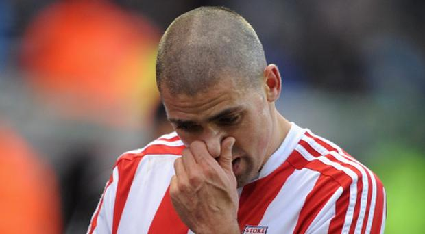 STOKE ON TRENT, ENGLAND - JANUARY 12: Jonathan Walters of Stoke City walks off at half-time during the Barclays Premier League match between Stoke City and Chelsea at the Britannia Stadium on January 12, 2013, in Stoke-on-Trent, England. (Photo by Chris Brunskill/Getty Images)