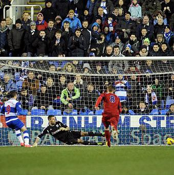 Adam Le Fondre, left, scores Reading's equaliser