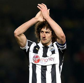 Fabricio Coloccini acknowledges the Newcastle fans after the final whistle at Carrow Road