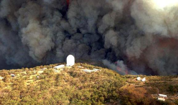 The Wambelong fire burns near the Siding Springs Observatory, about 350km north west of Sydney