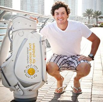 Rory McIlroy in Dubai with the first bag of the 6 Bags Project, which will raise funds and awareness for six charities over six tournaments (Photocall Ireland/The Rory Foundation/PA Wire)