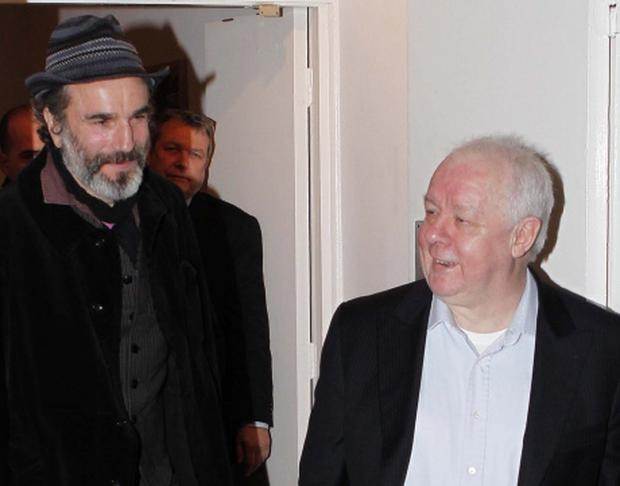 Acto r and Daniel Day Lewis with Director Jim Sheridan in the IFI Cinema at a Retrospective of Jim's Work...KOB...3/2/11