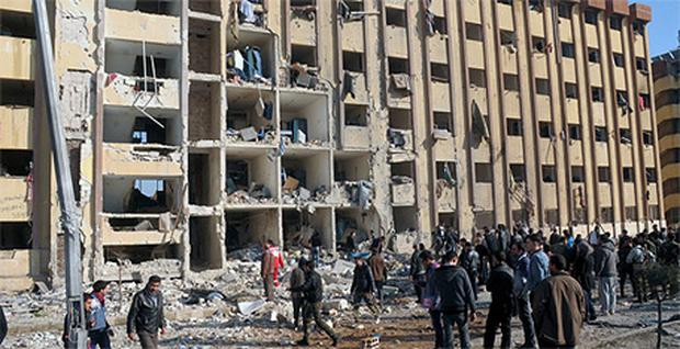 The site where two explosions rocked the University of Aleppo