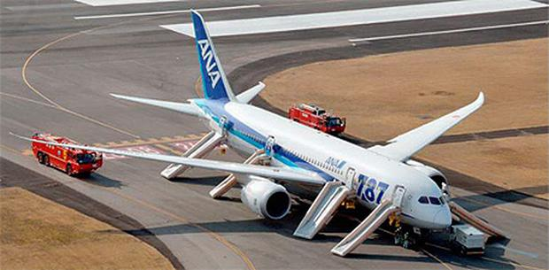 An All Nippon Airways (ANA) Boeing 787 Dreamliner pictured after making an emergency landing at Takamatsu airport in western Japan
