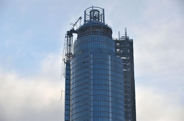 A general view of the damaged crane on top of St Georges Tower. Photo: PA