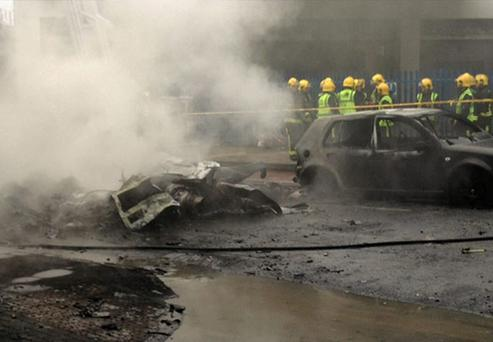 The scene in Vauxhall, central London after the helicopter crash. Photo: PA