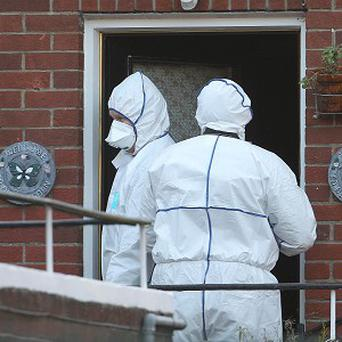 The scene on Drumalee Court in Stoneybatter, Dublin where a couple died