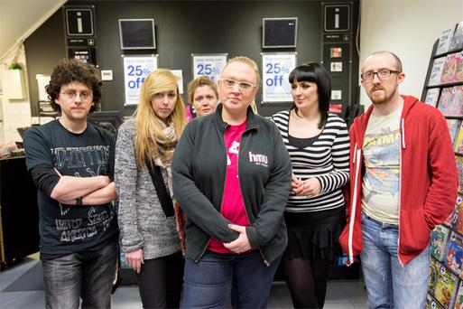 HMV staff Gary Healy, Robyn Long, Michelle Hennigar, Emer Graham, Dervla Peters and Dan Collopy during their sit-in protest at the HMV store in Cruise's Street, Limerick