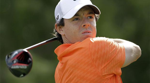 Rory McIlroy drives off on the fifth hole during practice for the Abu Dhabi Golf Championship