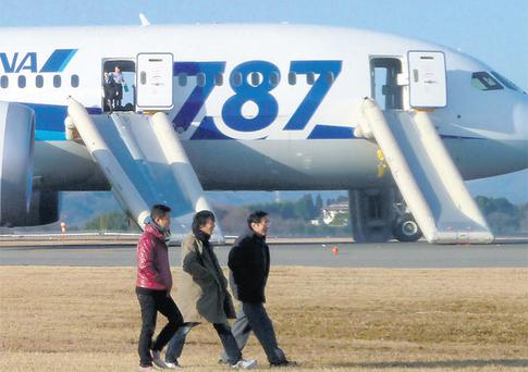 Passengers walk away from All Nippon Airways 787 Dreamliner plane, which made an emergency landing at Takamatsu airport in Japan