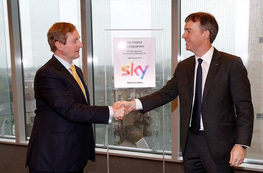 Taoiseach Enda Kenny TD and Jeremy Darroch, CEO of Sky, as the company's new Irish base officially opened