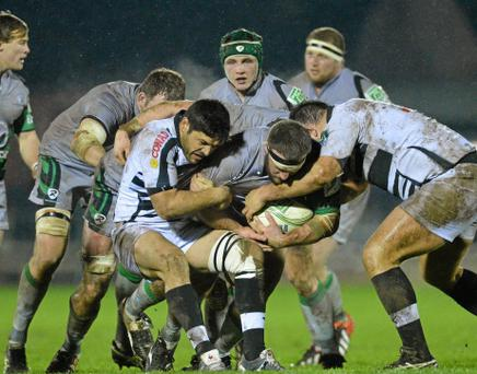 18 January 2013; Nathan White, Connacht, is tackled by Daniel Halangahu, left, and Luca Redolfini, Zebre. Heineken Cup, Pool 3, Round 6, Connacht v Zebre, Sportsground, Galway. Picture credit: Diarmuid Greene / SPORTSFILE