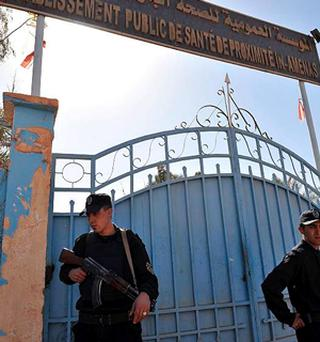 Algerian special police unit officers secure the hospital in Ain Amenas, Algeria, two days after the start of the terrorist attack at a gas plant.