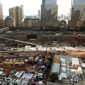 The scene from an elevated position above 'ground zero', the site where the World Trade Centre twin towers stood