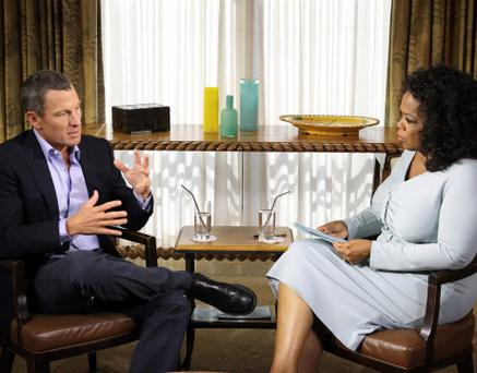 Cyclist Lance Armstrong is interviewed by Oprah Winfrey in Austin, Texas, in this January 14, 2013 handout photo courtesy of Harpo Studios. Armstrong finally admitted to using performance enhancing drugs during his cycling career on January 17, 2013, describing himself as a