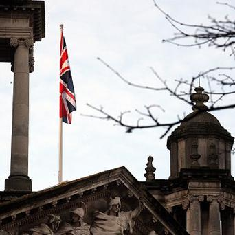 The Union flag flying over Belfast City Hall