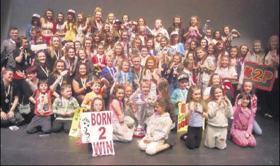 Members of Born 2 Perform celebrating their victory at the All-Ireland Variety Show finals in Dublin recently.