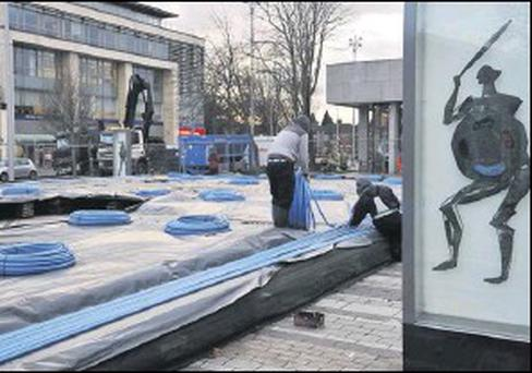 Work in progress on the ice rink at the Market Square, Dundalk.