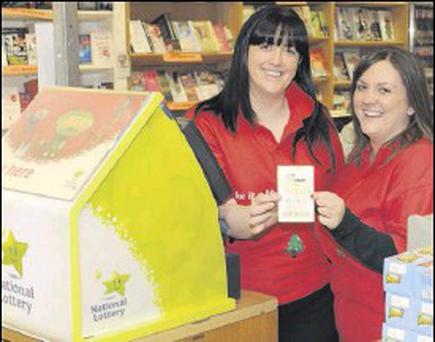 Sinead McCreesh and Kate Darcy in Carrolls Newsagents, Longwalk Shopping Centre.