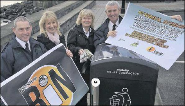 Litter wardens Martin reilly (left) and Eugene Birch with Aisling Sheridan and Mary Murtagh from Louth County Council at the launch of the iRadio 'Put Rubbish In...Get Cash Out' campaign.