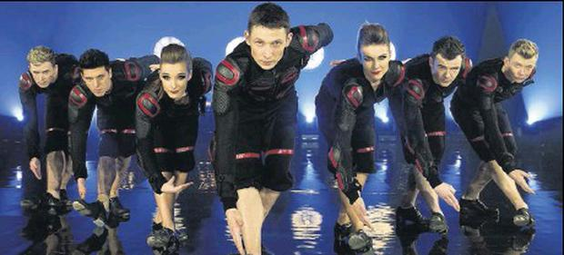 Dundalk's Darren Casey (far left, with his dance troupe Prodijig) will be back home to perform in Scoil Rince Mona Ni Rodaigh's show 'A Christmas Cracker' at St. Patrick's GFC Lordship on Saturday.