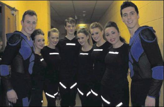 Prodijig dancers, Darren Casey and Andrew O'Reilly, at the Christmas Cracker with dancers Alannah Murray, Olivia Murray, Eoghan Murphy, Shauna Hudson, Lindsay Carolin and Muriel Burke.