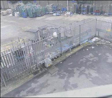 A large amount of rubbish accumulated at the rear of the Tesco store over the Christmas period.