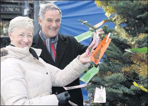 Una Whelan and Arthur Fitzharris of Bray Rotary tie tags for gifts that are needed more than ever this Christmas at the Rotary Christmas Giving Tree outside the Holy Redeemer on the Main Street.