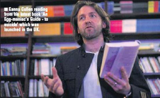 Eanna Cullen reading from his latest book 'An Egg-maniac's Guide - to suicide' which was launched in the UK.